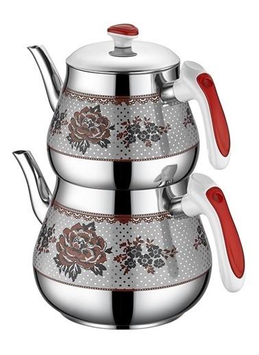 Kristal Mega Desenli Çaydanlık Kırmızı-Özkent